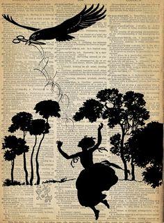 Papercut Art - Fairy Tale Print - Girl and Bird  - Woodland Whimsical Silhouette - Elegant Nursury Art Vintage Fairy Tale