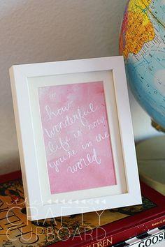 How Wonderful Life Is Watercolor Printable in Pink or Blue