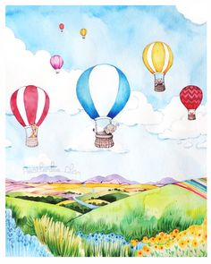 Hot Air Balloon Watercolor - Print of Painting by ladypoppins on Etsy https://www.etsy.com/listing/190777835/hot-air-balloon-watercolor-print-of