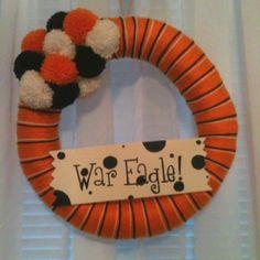 Auburn yarn wreath. War Eagle!
