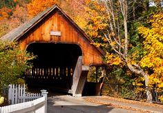Covered bridge in autumn, Woodstock, Vt.