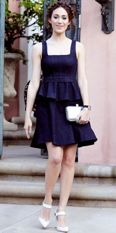 Emmy Rossum dined at Chateau Marmont in peplum dress, silver clutch and ankle-strap Aldo Rise x Preen heels.