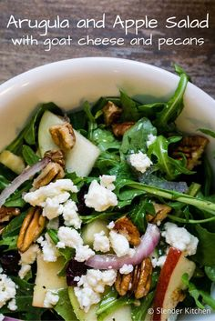 This Arugula and Apple Salad with Goat Cheese, Pecans, and a Lemon Vinaigrette is full of flavor and makes a perfect healthy side dish or main course with some added chicken, shrimp, chickpeas Healthy Salad Recipes, Vegetarian Recipes, Cooking Recipes, Arugula Salad Recipes, Simple Salad Recipes, Delicious Recipes, Winter Salad Recipes, Kale Salads, Quick Recipes