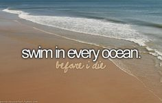 Swim in every ocean(: Now this one sounds lovely...I just hope that I don't get stung by a jellyfish(:
