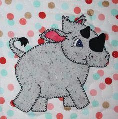 Rhino PDF applique pattern African safari animal by MsPDesignsUSA