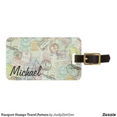Passport Stamps Travel Pattern Luggage Tag