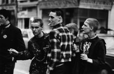 Punks queuing outside the Rainbow, London, in 1977 to see The Clash and The Jam in concert. Photo by Chris Moorhouse