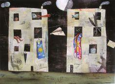 "a casa di Angelo - Glenda Sburelin. Idea for set design. make characters that have a conversation on the ""block"" or between windows"