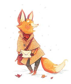 """Cute fox from the """"Woodland Creatures"""" series by Znuese Illustration."""