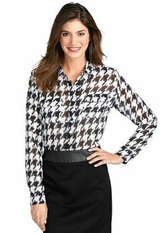 Houndstooth Button Front Shirt