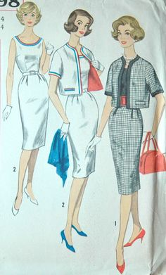 1960's Simplicity Dress and Jacket Pattern  Bust by backroomfinds