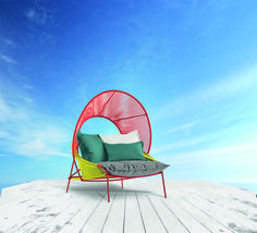 Roche Bobois - TRAVELER collection, designed by Stephen Burks.  Conceived by American designer Stephen Burks, Traveler is a complete set of Outdoor Furniture that offers sumptuous summertime relaxation. #outdoor #traveler #color #relax #armchair #table #furniture #design