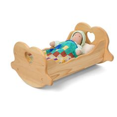 Wooden Doll Cradle is made of solid pine, with sweet cut-out hearts at either end makes a cozy bed for a baby doll. Wooden doll furniture and doll accessories from Bella Luna Toys. Wooden Baby Toys, Wooden Dolls, Wood Toys, Wooden Cradle, Wooden Play Kitchen, Rosalie, Waldorf Toys, Waldorf Preschool, Natural Toys