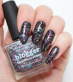 piCture pOlish Blogger layerd over black by The Mani Cafe!  WOWZA    Love the shape of the nails