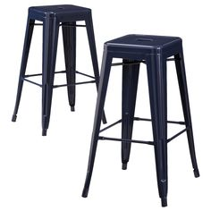 """Add a pop of brightness and fun to your kitchen or dining area with the Carlisle Metal 29.5"""" Barstool (Set of 2). The metal barstool set is super versatile. Use the barstools under your breakfast counter or bar, in the corner of a room as an accent piece or keep it handy for extra guest seating. Its legs have simple bars to rest your feet and the seat has a convenient hole for easy carrying and transport. Constructed from sturdy metal, each counter stool is simple and contemporary in its..."""
