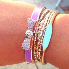 Henri Bendel bracelet - love the bow! So cute and dainty Jewelry Shop, Fashion Jewelry, Women's Fashion, Jewelery, Jewelry Necklaces, Diamond Are A Girls Best Friend, Bracelet Watch, Bow Bracelet, Women's Accessories