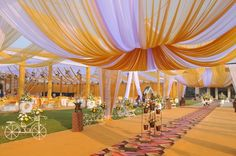 day wedding yellow and white canopy tents decor ETHNIC FUSION THEMA – Bhasins Luxus-Hochzeitsplaner & Designer Wedding Entrance, Wedding Mandap, Entrance Decor, Tent Wedding, Luxury Wedding, Reception Entrance, Table Wedding, Wedding Reception, Wedding Venues