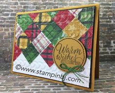 Warmth & Cheer quilt card - and the Warmth & Cheer designer series paper is on sale for 50% off while supplies last!  #stampinbj.com
