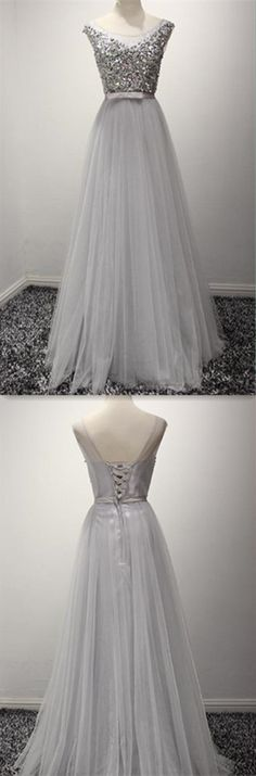 Beading Tulle Long Prom Dress,Evening Dress,Prom Dresses