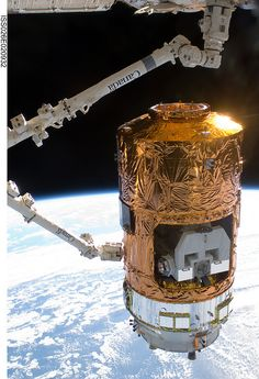 Japanese H-II Transfer Vehicle being attached to ISS with remote arm 🛰 Cosmos, National Geographic Wallpaper, Nasa Pictures, Nasa Space Program, Space Race, Space Center, Other Space, Space And Astronomy, Earth From Space