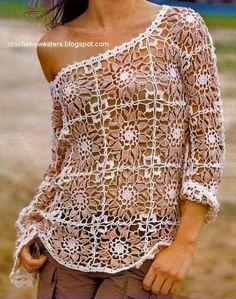 Patrón de Blusa al crochet con diseño de squares / cuadros
