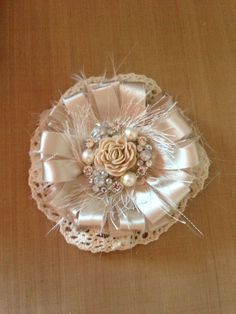 Shabby flower- Glue folded satin ribbons , add to small doily, create your center