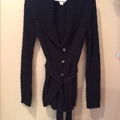 Black cardigan sweater Black belted cardigan sweater, shawl collar. Excellent condition. Merona Sweaters Cardigans