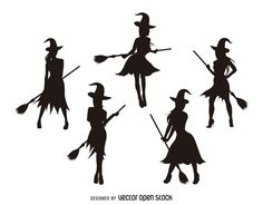 Set of isolated Halloween silhouettes featuring beautiful witches flying and posing with brooms. Great for your Halloween designs! Halloween Silhouettes, Halloween Clipart, Halloween Images, Halloween Cards, Fall Halloween, Halloween Stencils, Halloween Designs, Witch Silhouette, Silhouette Tattoos