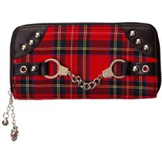Banned Apparel Red Tartan Plaid Punk Wallet with Handcuff Skull Charm ❤ liked on Polyvore featuring bags, wallets, punk wallet, plaid wallet, plaid bag, red bags and punk bags