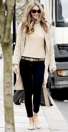 Sweater coat over a crewneck sweater with Miss Sixty cropped jeans and gold snake-print Michael Kors belt