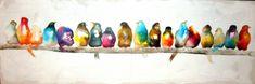 TABLEAU PEINTURE oiseaux couleurs panoramique encre Animaux Encre de Chine  - oiseaux