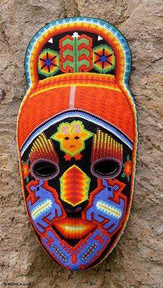 Huichol deer shaman beadwork mask