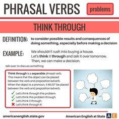 Phrasal verb 'think through' English Idioms, English Phrases, English Writing, English Study, English Grammar, Learn English, Grammar And Vocabulary, Vocabulary Cards, Grammar Lessons