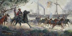 mort kunstler civil war paintings | JEB Stuart & Major John Pelham, White House, VA, June 29, 1862
