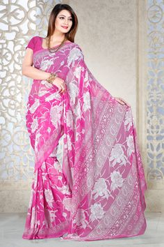 Pink casual printed party wear saree online from Easysarees