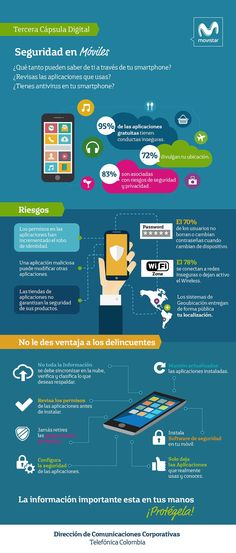 Seguridad en móviles #infografia #infographic Web Safety, Security Tips, Community Manager, Data Science, Tech Gadgets, Mobile App, Coaching, Knowledge, Management