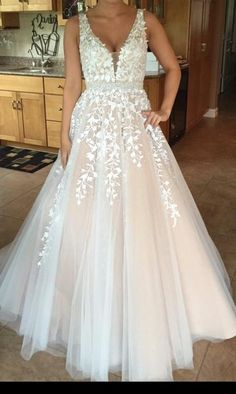 Lace v neck tulle long prom gown, lace evening dress for teens, lace formal dress