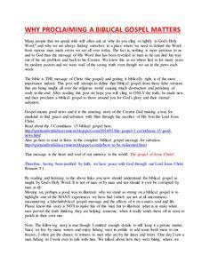 Why Proclaiming A Biblical Gospel Matters by spiritntruth via slideshare www.nopews.blogspot.com