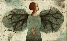 """Siivet kantaa"" (""The Wings Carry"") by Finnish artist Piia Lehti. Coin D'art, Art Corner, Portrait Art, Printmaking, Illustrators, Paper Art, Contemporary Art, Illustration Art, Creatures"