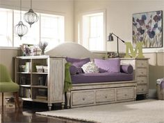 Daybed Flanked by Bookcase and End Table                              …
