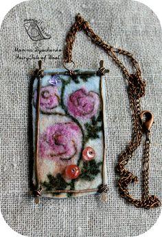 #landscape_pendant #Bulgarian_rose  #Felted_ pendant  #Boho_style # Hand-made by #MarinaDyachenko_on_Etsy