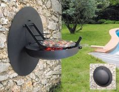 space saving pop-out outdoor wall grill