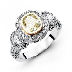 14K White Gold Halo Style Diamond Engagement Ring 0.74 ct