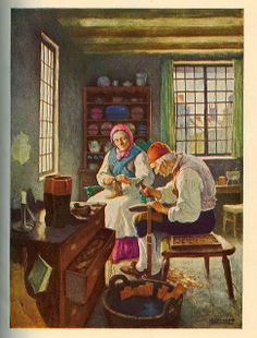 """The Cobbler"" - Illustration by N.C. Wyeth for ""Song Programs for Youth: Treasure,"" Ginn and Company, 1938."