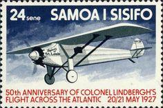 Stamp: Spirit of St. Louis in flight (Samoa) (Charles A. Lindbergh's solo transatlantic flight) Mi:WS 351,Sn:WS 451,Yt:WS 389