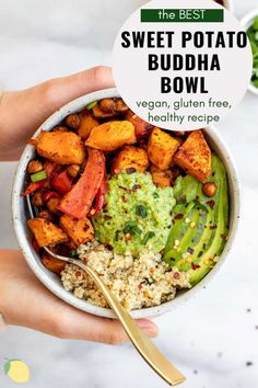 The Ultimate Vegan Buddha Bowl Recipe Looking for a simple and healthy lunch or dinner recipe? Look no further than this sweet potato buddha bowl! With roasted peppers, pesto and chickpeas, this is a high protein recipe that is perfect for meal prep. Vegetarian Recipes, Cooking Recipes, Healthy Recipes, Best Lunch Recipes, Dinner Recipes, Vegan Vegetarian, Salad Recipes, Dinner Ideas, Dairy Free Pesto