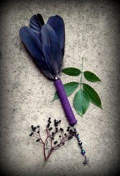 Crow Feather Smudge Fan: Witchcraft Shaman Wicca by WytchenWood