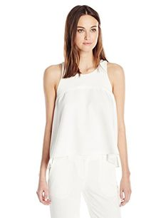 Milly Women's Italian Cady Trapeze Top, White, Petite MILLY