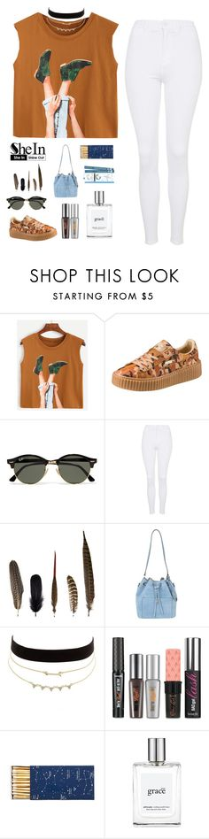 """""""Camel Graphic Print Crop Top by SheIn #2"""" by patricia-pfa ❤ liked on Polyvore featuring Puma, Ray-Ban, Topshop, Mineheart, Michael Kors, Charlotte Russe, Benefit, Jayson Home, philosophy and shein"""