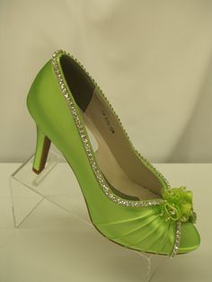 Neon Green Wedding Shoes Crystals and Flowers peep by NewBrideCo